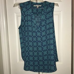 Teal and navy sleeveless blouse
